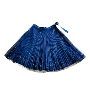 Express Pleated Iridescent Sequin Tulle Skirt 3/4